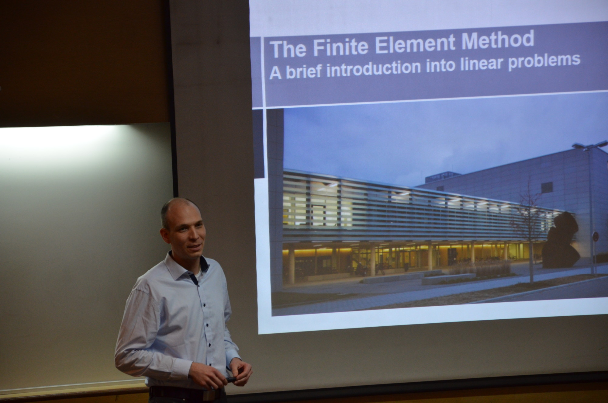 """Dr. Sebastian Pfaller giving a lecture on """"The Finite Element Method"""" at the Indian Institute of Technology Delhi."""