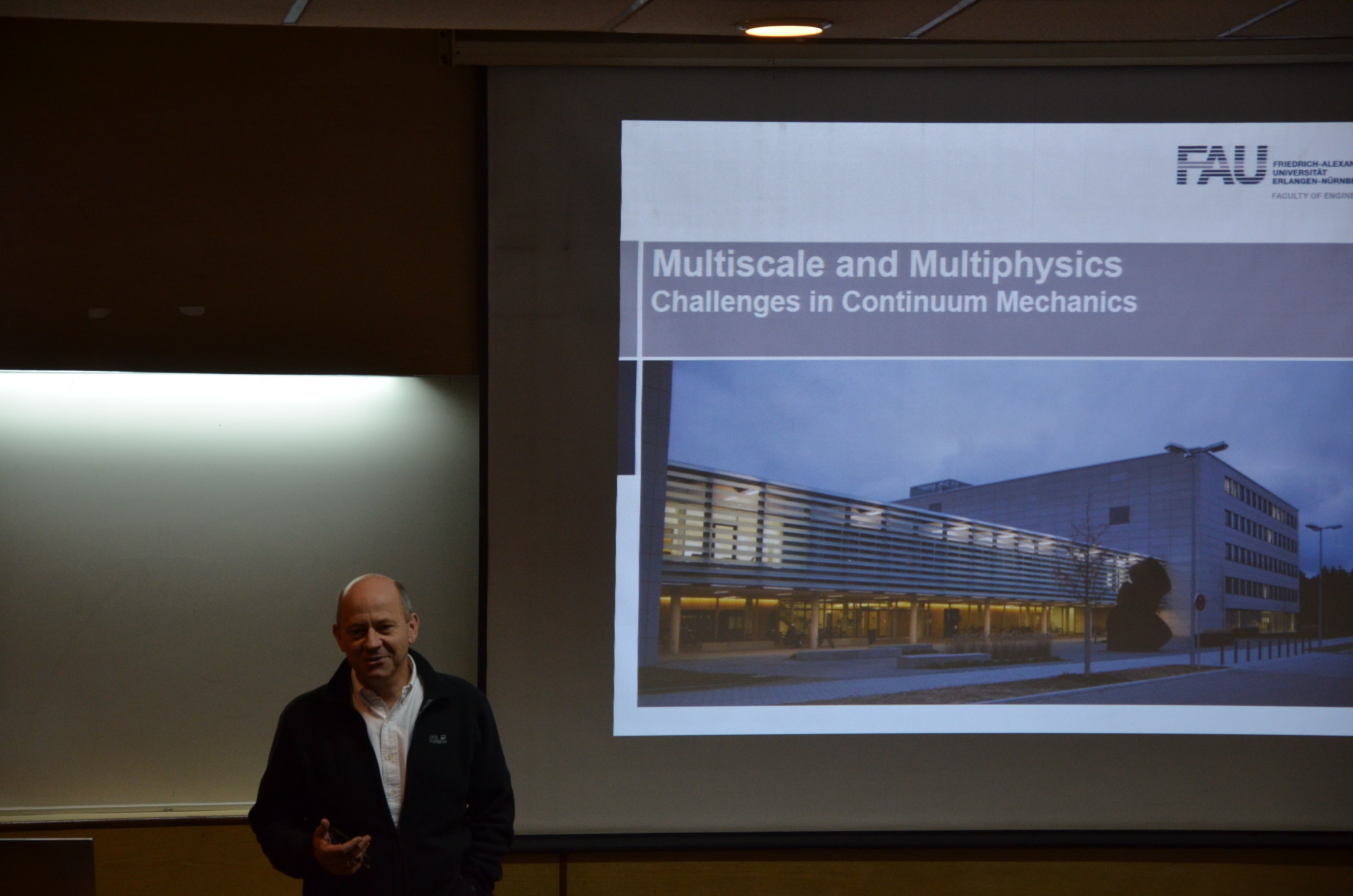 """Prof. Dr. Paul Steinmann giving a lecture on """"Multiscale and Multiphysics Challenges in Continuum Mechanics"""" at the Indian Institute of Technology Delhi."""