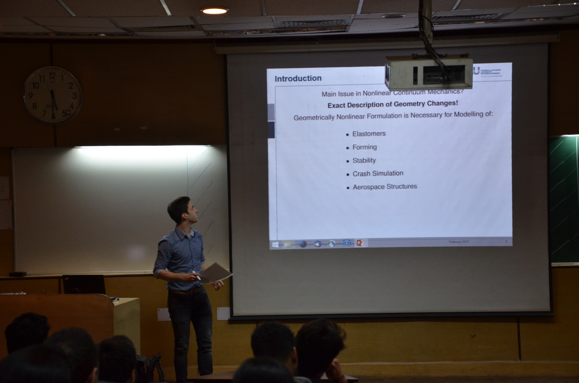 """Dr. Stefan Käßmair giving a lecture on """"Elasto-Statics"""" at the Indian Institute of Technology Delhi."""