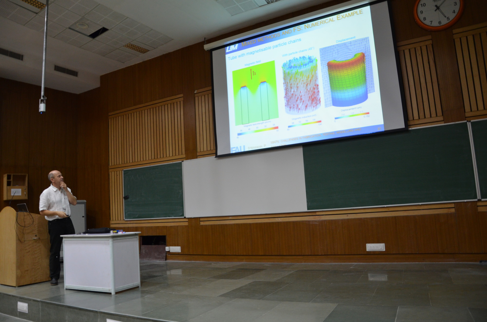 """Prof. Dr. Paul Steinmann giving a lecture on """"Numerical and Experimental Treatment of Magneto-Rheological Elastomers"""" at the Indian Institute of Technology Delhi."""