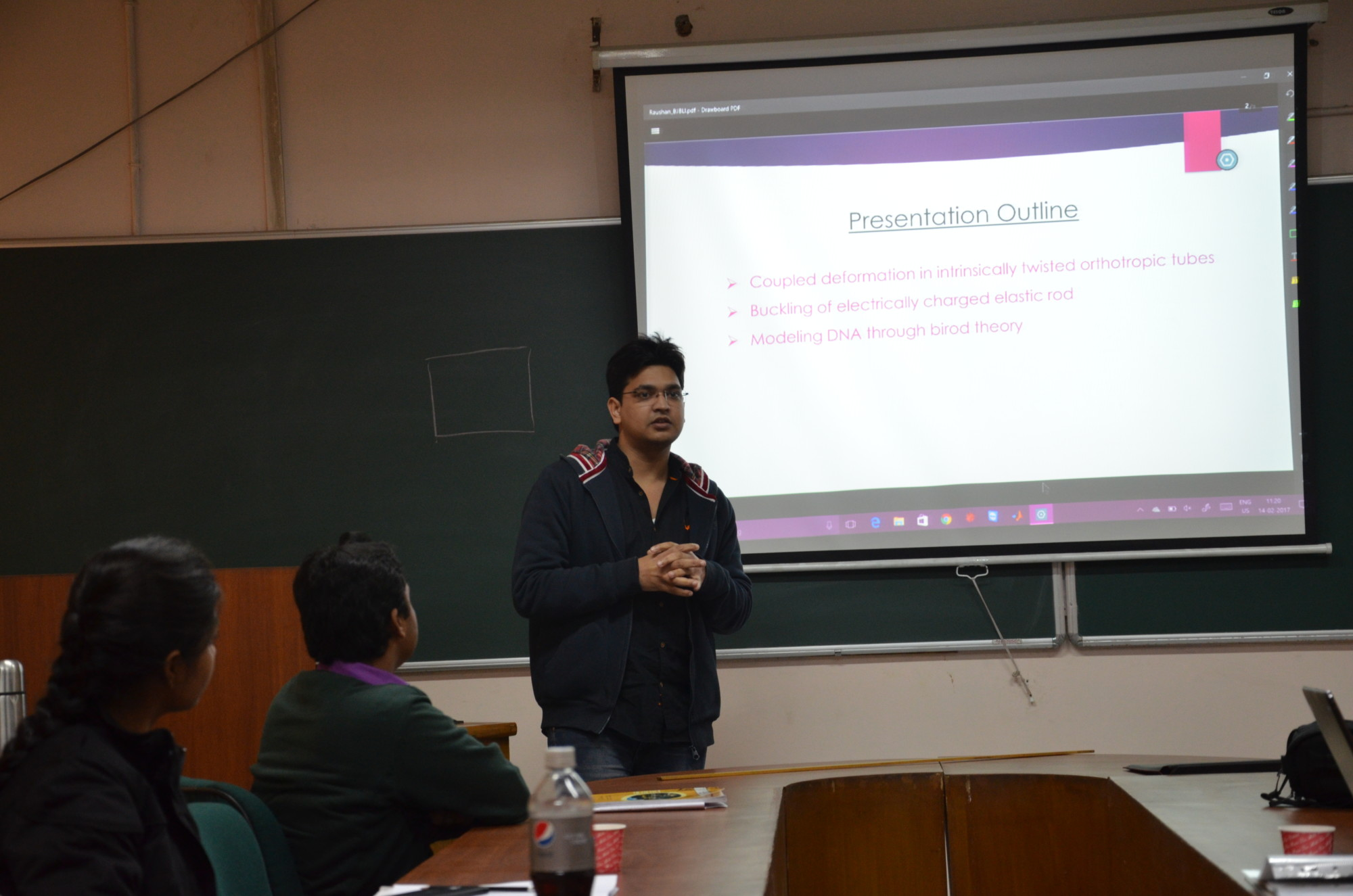 "Dr. Raushan Singh giving a presentation about nanorods for the workshop ""Multiscale and Multiphysics – Challenges in Continuum Mechanics"" at the Indian Institute of Technology Delhi."