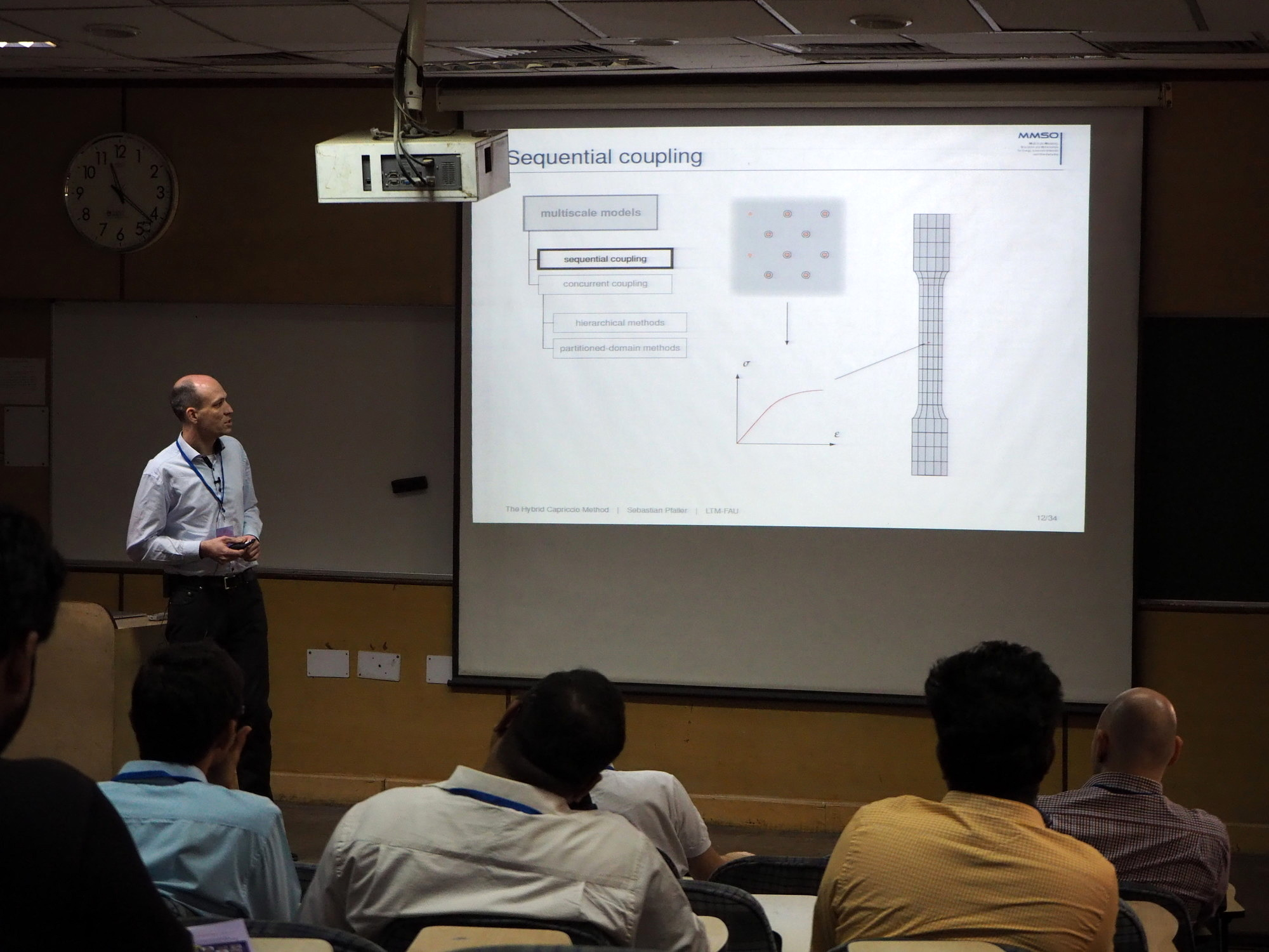 "Dr. Sebastian Pfaller giving a presentation on ""Bridging Scales: the Hybrid Capriccio Method"" at the Indian Institute of Technology Delhi."