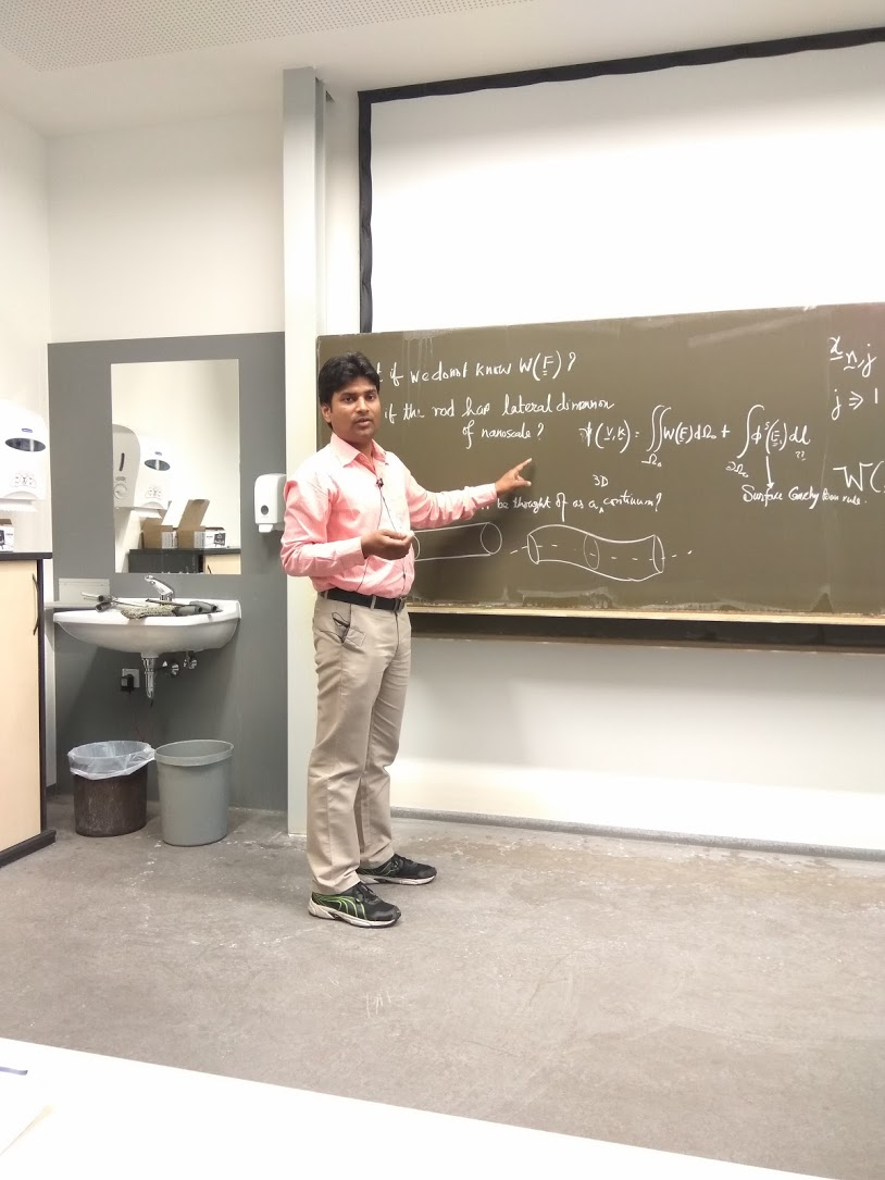 "Prof. Dr. Ajeet Kumar giving a lecture on ""Elasticity of One-Dimensional Continua and Nanostructures – a Multiscale Viewpoint"" at  Friedrich-Alexander-Universität Erlangen-Nürnberg."