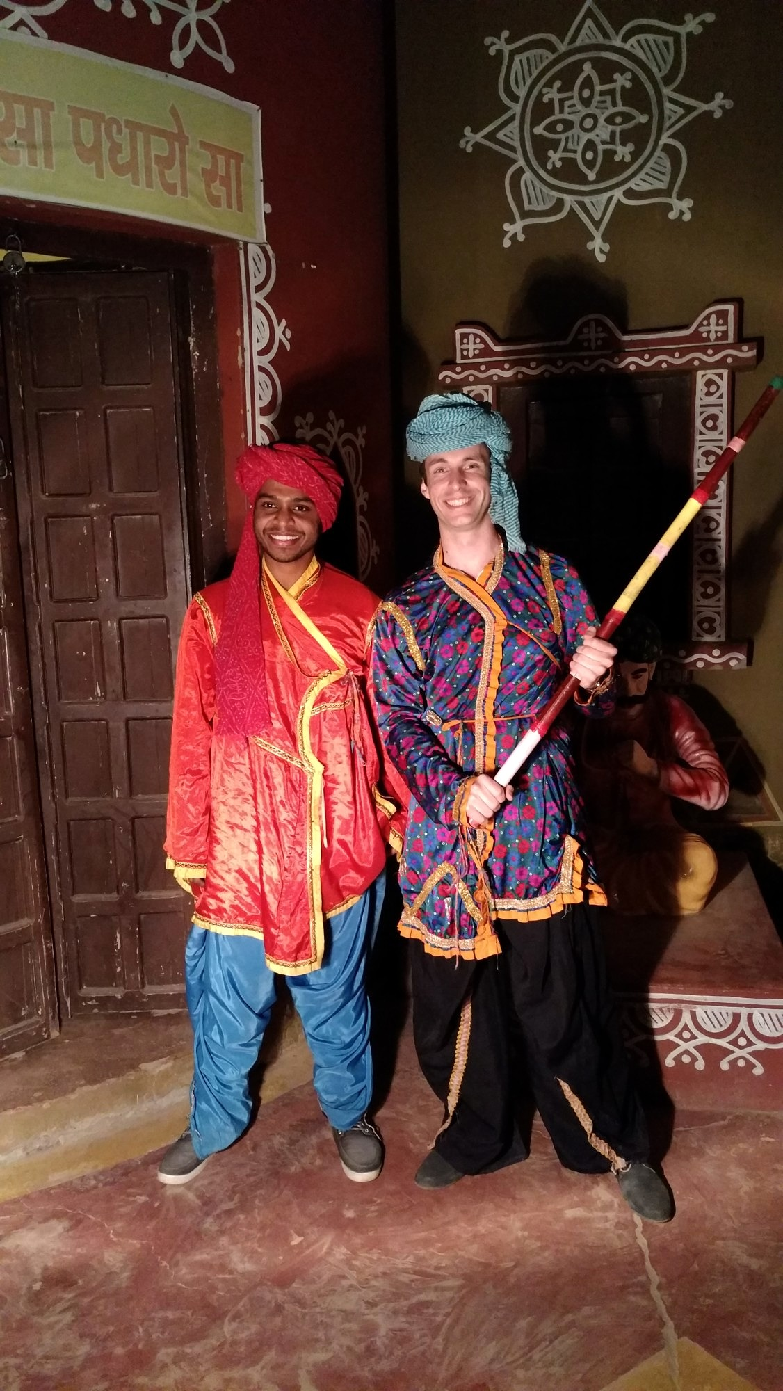 Two researchers from both universities wearing traditional clothing during a trip to Rajasthan.