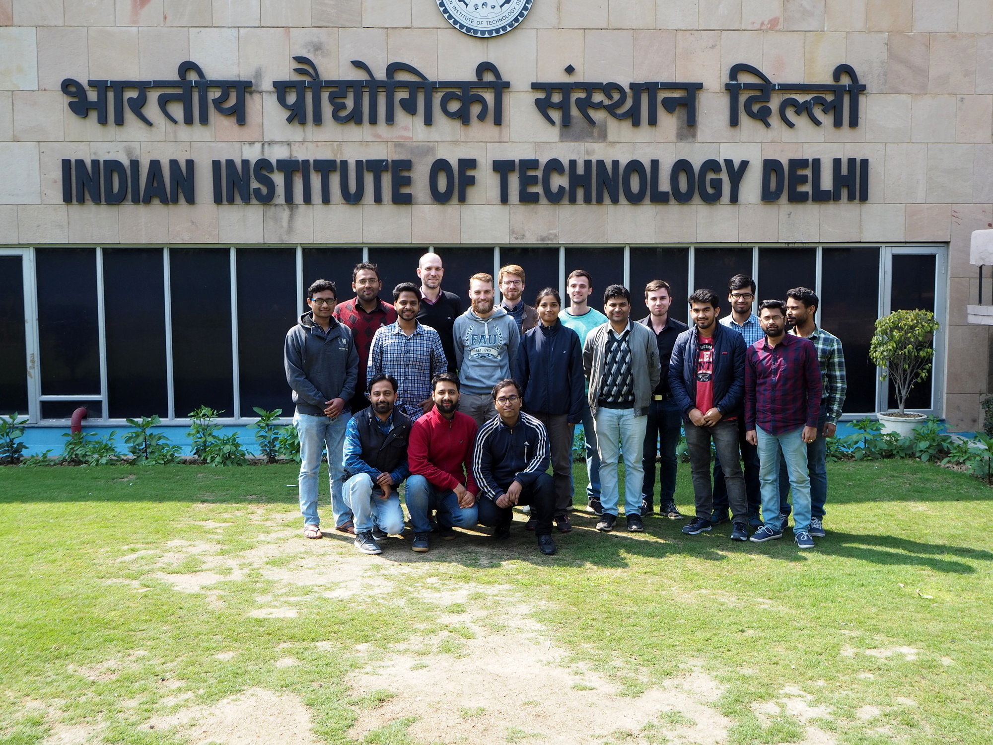 Group photo of seventeen researchers at the Indian Institute of Technology Delhi.